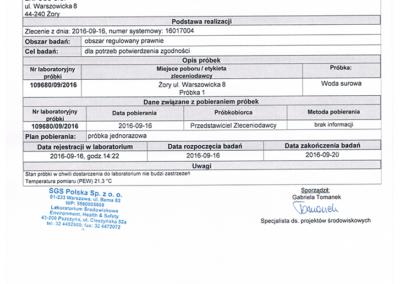Certyfikat wody demineralizowanej