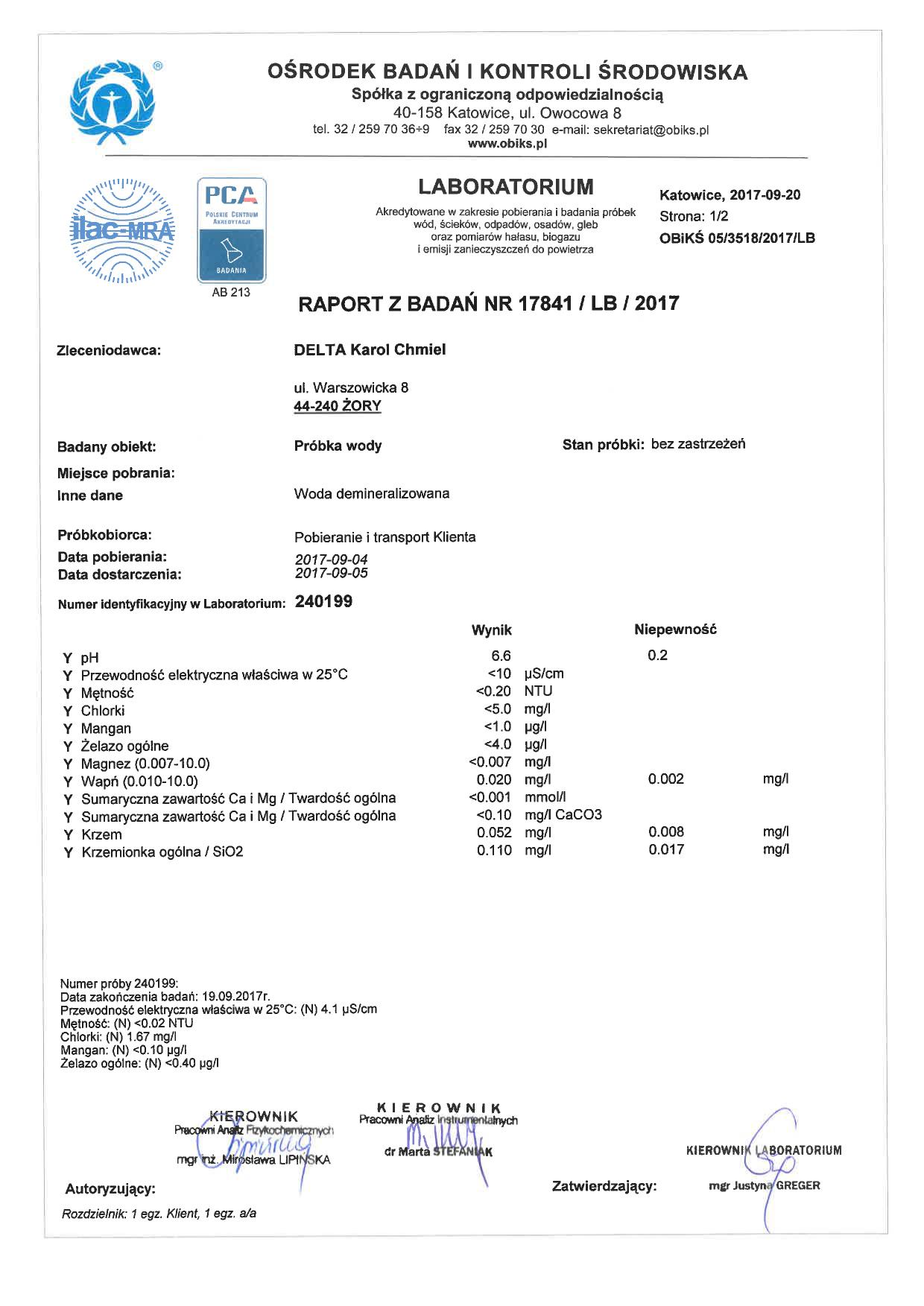 Certyfikat wody demi